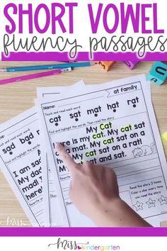 I CAN READ SHORT VOWEL SENTENCES - kindergarten reading fluency