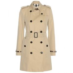 Burberry London The Kensington Cotton Trench Coat (110,365 PHP) ❤ liked on Polyvore featuring outerwear, coats, jackets, beige, burberry, cotton trench coat, burberry coat, brown trench coat and beige trench coat
