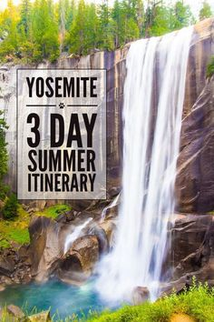 Yosemite National Park can be hot and busy in the summer. This 3-day itinerary will help you avoid the crowds and make the most of your stay. It includes quiet hikes and beautiful attractions like this waterfall Vernal Falls.: