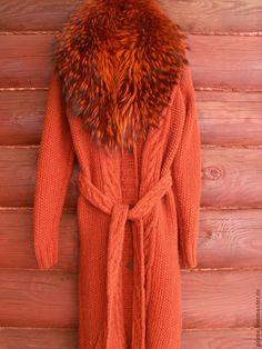 """Купить Пальто вязаное """"Терра"""" - вязаное пальто, рыжее, коричневое, кардиган, с мехом, араны, косы"""