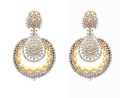 18k gold chandbali earrings studded with fine cut diamonds and south sea pearls by Tanya Rastogi for Lala Jugal Kishore Jewellers