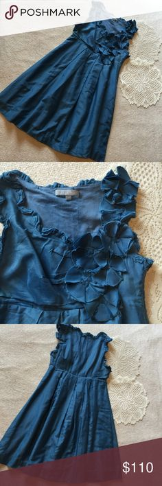 """PRICE DROP Anthropologie Minuet Blue Dress Minuet Dress. Beautiful blue. Pair with cream colored shoes for a classic look. Bust 30"""" Waist (under bust) 28"""" Length 33.5"""" Side zip closure. Anthropologie Dresses"""