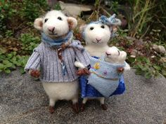 Family of Wool Felted Mice, Mom, Dad and Swaddled Baby @ Etsy Creationsfrompassion
