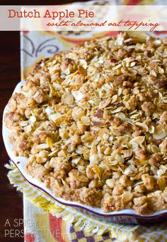 For the Crumb Topping:  1/3 of the pie crust dough, broken into small pieces (I'll use refrigerated store bought!) 2/3 cup oats 1/2 cup sliced almonds 3 Tb. brown sugar 1/4 tsp. ...
