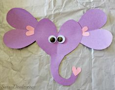 Valentines Day Elephant Craft For Kids #Purple and pink #Construction Paper art project #valentines card idea | CraftyMorning.com