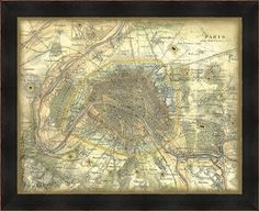 Map Of Paris  Framed Wall Art