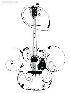 tatoos with swirl designs | Guitar Swirl Image – Vector Clip Art Online, Royalty Free & Public ...