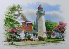 Old Point Comfort Lighthouse - Watercolor Painting by Richard C Moore