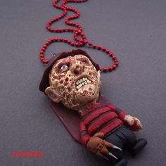 Freddy Krueger cult horror FANART polymer clay - necklace via Etsy