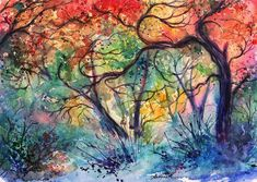 Watercolor Tree Paintings : Anna Armona