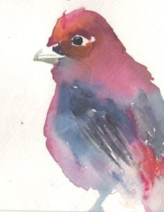 Red Bird by Jessica Buhman #art #painting #watercolor #cardinal #nature #wildlife #animals