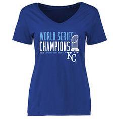 Women's Royal Kansas City Royals 2015 World Series Champions Cycle T-Shirt