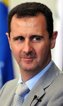 Bashar Hafez al-Assad, born 11 September 1965, is the President of Syria and Regional Secretary of the Syrian-led branch of the Arab Socialist Ba'ath Party. He has served as President since 2000, when he succeeded his father, Hafez al-Assad, who led Syria for 30 years prior to his death.