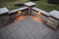 Stone Paver Patio with Accent Band, Seating Walls and LED Outdoor Lighting - Landscaping Outdoor Kitchens Outdoor Living in Columbus Ohio Outdoor Patio Pavers, Outdoor Patio Designs, Outdoor Stone, Diy Patio, Patio Stone, Patio Ideas, Yard Ideas, Stone Patio Designs, Pavers Ideas