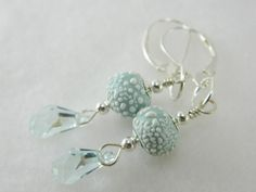 Handmade light blue earrings, sterling silver and Swarovski Crystals   Lundela - Jewelry on ArtFire