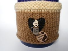 Coffee Lovers Brown Knit Mug Cozy by stinkR on Etsy, $18.00