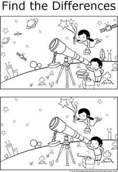 Great for quiet activities and art, this printable coloring page shows several differences between the two pictures of kids studying stars and planets through a telescope. Space Activities For Kids, Printable Activities For Kids, Preschool Learning Activities, Preschool Worksheets, Book Activities, Preschool Activities, Kids Learning, Space And Astronomy, Astronomy Facts