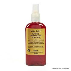 Gold Label Iodine Spray A safe application that contains non-toxic povidone iodine To be applied near the affected parts two or three times a day.