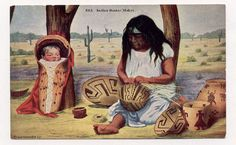 1910 postcard of Pima Indian woman making baskets. (Native American art and history.)