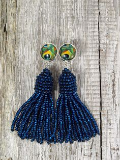 Dark blue bead tassel earring Peacock stud earring Peacock