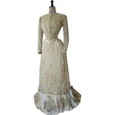 Battenburg Lace Reception Gown, Tea Gown, Antique Dress, Antique Gown, Edwardian, ca. 1901
