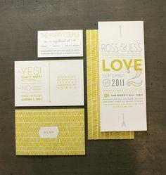 Beautiful yellow invites / Design Ross Bruggink and Jessica Keintz / #wedinvites