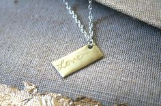 Personalized Engraved LOVE Necklace Gold by thepinklocket on Etsy, $24.00 #valentine