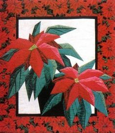 Poinsettia Christmas Quilt Foundation Pieced