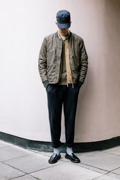 Robin from HQ wearing his MA1 Jacket, Uniform Shirt, V Neck Crew, Track Pant and GH Bass Loafers
