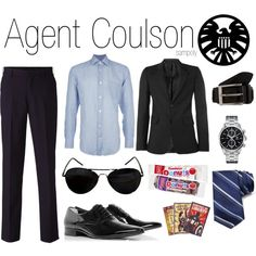 """""""Agent Coulson (male)"""" by sampoly on Polyvore - I wanted to pin this to credit the Avengers outfits to the proper person. She has a ton of male and female Avengers outfits and you can look at all the items she used for each. It's very cool."""