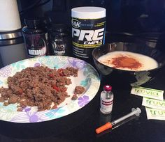 #sundayfunday hope everyone is training today. Because i am!!!! - PREWORKOUT MEAL 8 ounces bison 70 grams cream of rice 15 units humalog 25 mgs ostarine 2 matador caps. ( for all my diabetic followers this product really helps control my blood sugar no bullshit my sugar hasnt been over 150 in weeks) - PREWORKOUT faktrition pre complex 2 scoops Intra workout FAKTRITION BCAA CMPLX 2 scoops mixed with 25 grams cyclin dextrin. Karbolyn or vitargo is fine. You can find them on…