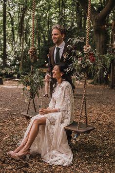Bride & Groom Sing Portraits t| Woodland Wedding With Bride In Hermione De Paula & Reformation Silk Evening Dress With Groom In Tweed Hugo Boss & Images By Jason Mark Harris