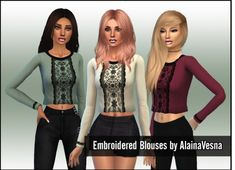 Alaina Vesna: Embroidered Blouses in Three Colours • Sims 4 Downloads