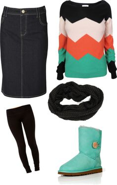 Love the boots and sweater and change the skirt into skinny jeans...exactly...along with a cute purse and jewely,,,oh yes:)