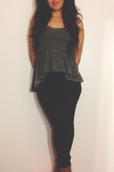 Free people vintage  peplum shirt urban high waist twig black jeans. Simple and cute ootd, outfitoftheday, fashion,