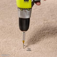 To fix a squeaky floor under carpet, locate the floor joists with a stud finder, then drive in a trim head screw through the carpet, pad and subfloor, and right into the floor joist. Be sure the top inch of the screw doesn't have threads or the subfloor won't suck down tight to the joist. We like trim screws because screws with larger heads pull down and pucker the carpet. If that happens, back out the screw and drive it back down. Keep adding screws until the squeak stops.