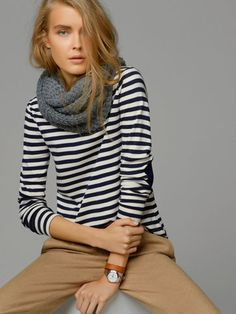 STRIPED T-SHIRT WITH LEATHER ELBOW PATCHES - New - WOMEN - United States