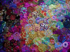 quilted color - Kaffe Fassett hexagons have almost a watercolor flow