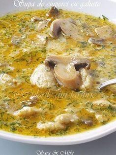 Supa de ciuperci cu galuste o supa rapida si ieftina minunata in orice zi a saptamanii. Incercati ca este tare buna. Veg Dinner Recipes, Pasta Recipes, Soup Recipes, Vegetarian Recipes, Cooking Recipes, Healthy Recipes, Romanian Food, Avocado Recipes, Mushroom Recipes