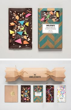 These chocolates definitely fall into the category of foods that are almost too pretty to eat! A chocolate bar inspired by Jackson Pollock and. Cheese Packaging, Bakery Packaging, Coffee Packaging, Packaging Design, Packaging Ideas, Artisan Chocolate, Chocolate Shop, Chocolate Bark, Chocolate Cheese