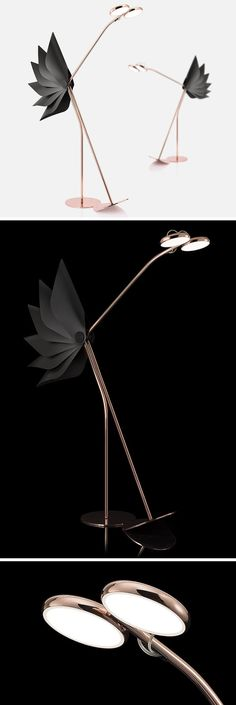 Dorking is a playful floor lamp that has a tail that opens or closes depending on whether or not its eyes are in a lowered or raised position. The lamp is made from copper and aluminum with a articulated tail made from plastic. #FloorLamp #Lighting #Design