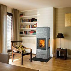 Noorse speksteenkachels Granit van Huitema - kachel ideeën   UW-haard.nl #houtkachels #kachels #speksteen Home And Living, My House, Home Appliances, Wood, Stoves, Home Decor, Houses, Kitchens, House Appliances