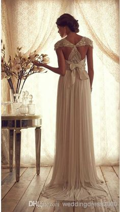 Vintage Style Scoop Neckline Sleeveless Sexy Backless Chiffon Fabric Sheer Beaded/Crystal Lace Empire Wedding Dresses Bidal Gowns 2014