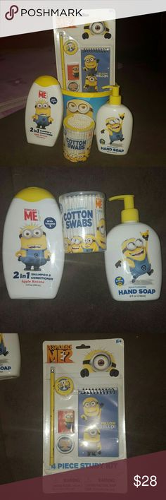 🌲Christmas Minions Bundle Kids Minions Bundle includes:  🔶 2 in 1 Shampoo & Conditioner  🔶 Hand Soap 🔶Cotton Swabs 🔶4 piece study kit  🔶Minions Bucket   Happy Poshing Despicable Me Other