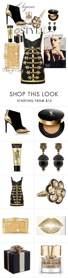 """""""Black & Gold"""" by Diva of Cake on Polyvore featuring Kat Maconie, Yves Saint Laurent, Victoria's Secret, Gucci, Dolce&Gabbana, Vintage, Charlotte Olympia, Oliver Gal Artist Co., Kate Spade and Smith & Cult"""
