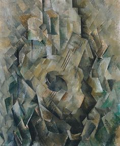 """Georges Braque's interest in collecting musical instruments is reflected in this painting of a small lute called a mandora. Its fragmented style suggests a sense of rhythm and acoustic reverberation that matches the musical subject. """"in the first place because I was surrounded by them, and secondly because their plasticity, their volumes, related to my particular concept of still life"""""""