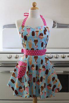 Items similar to The BELLA Vintage Inspired Inspired Ice Cream Sundae and Popsicle Full Apron on Etsy
