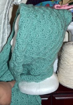 Crochet hooded scarf  vintage green by creatingwithni on Etsy