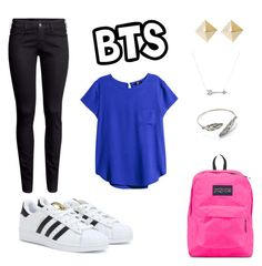 """BTS"" by aggelikipapkon ❤ liked on Polyvore featuring mode, H&M, adidas, JanSport en Adina Reyter"