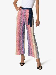 Shop online blue Mary Katrantzou Rego striped knit wide leg trousers as well as new season, new arrivals daily. Milan Fashion Weeks, New York Fashion, London Fashion, Stockholm Street Style, Paris Street, Mary Katrantzou, Pull On Pants, Wide Leg Trousers, Striped Knit